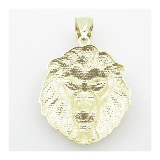 Mens 10K Yellow Gold Lion Head Pendant Length -3