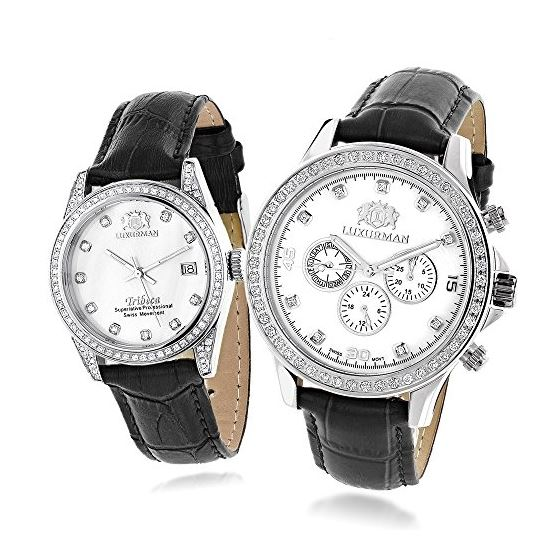 Matching His And Hers Swiss Mvt LUXURMAN Real Diam