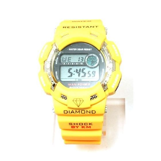 Yellow Kingmaster Digital Diamond Rubber Strap Wat