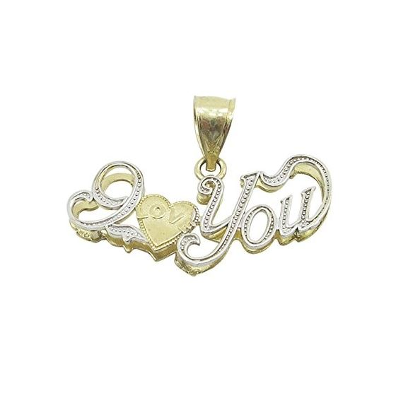 Ladies 10K Solid Yellow Gold curved I love you pen