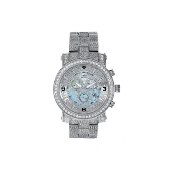 Aqua Master Mens Fully Iced Out Diamond Watch 11.6