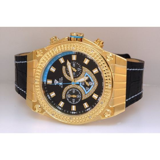Aqua Master Yellow Gold Mens Diamond Watch Blue Ac