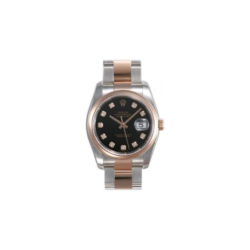 Rolex Datejust Black Diamond Dial Oyster Bracelet