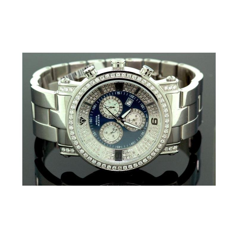 Aqua Master Diamond Mens Watch 3.60ct w104b