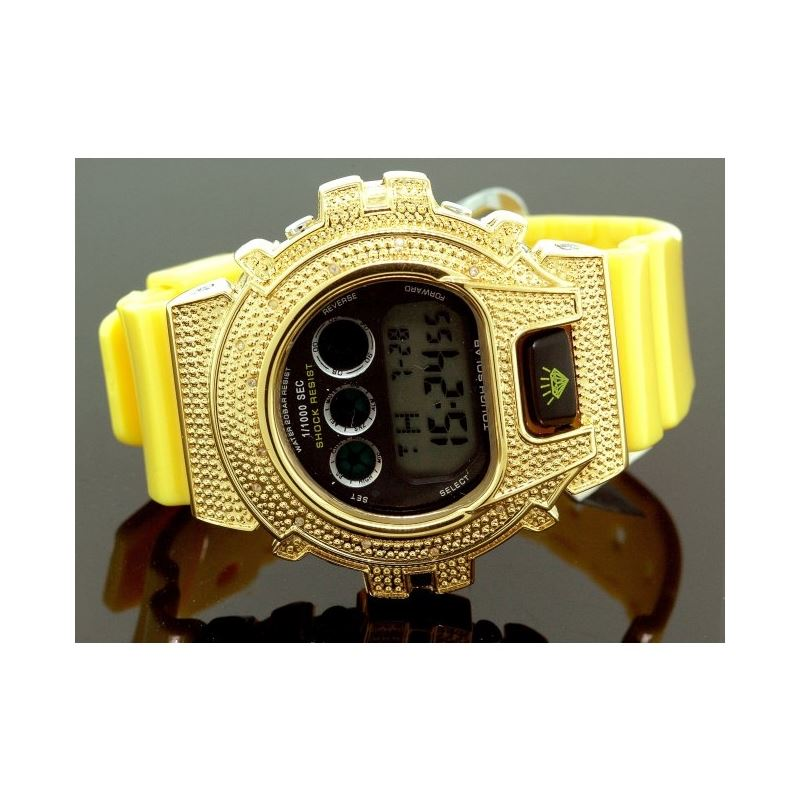 Ice Plus Mens Diamond Shock Style Watch Yellow Cas