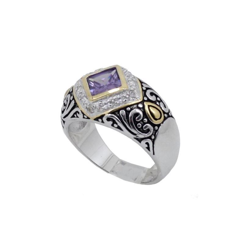 Ladies .925 Italian Sterling Silver Purple Violet