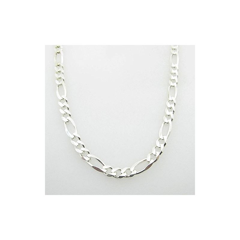 Silver Figaro link chain Necklace BDC96