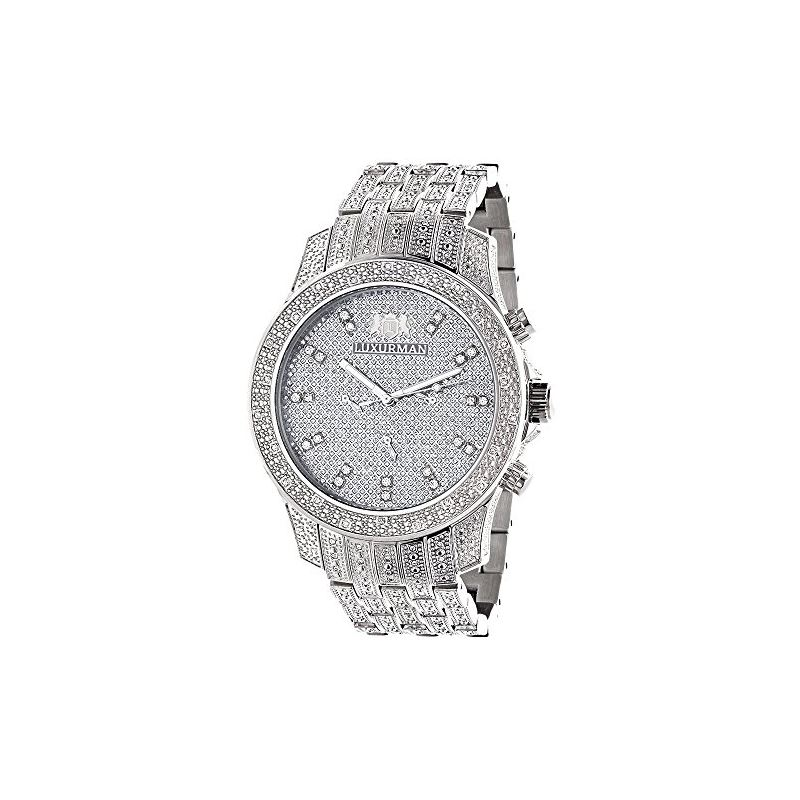 Iced Out Watches Luxurman Mens Genuine Diamond Watch 1