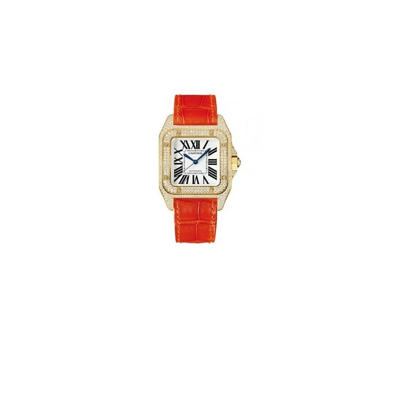 Cartier Santos 100 Diamond 18kt Yellow Gold Orange