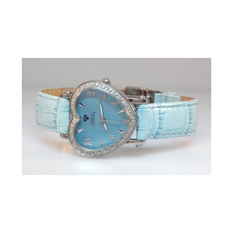 Aqua Master Ladies Heart Shape Diamond Watch Blue
