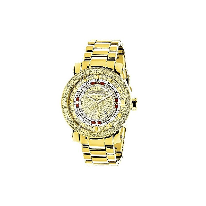 Unique Large Mens Real Diamond Watch 18k Yellow Gold