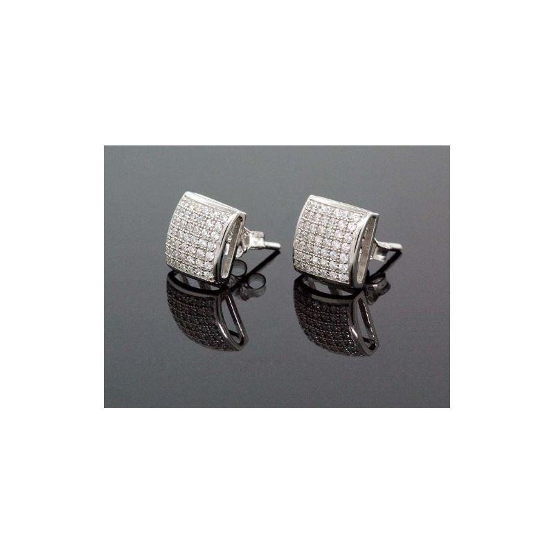 .925 Sterling Silver Unisex Earrings Fan 58558 1