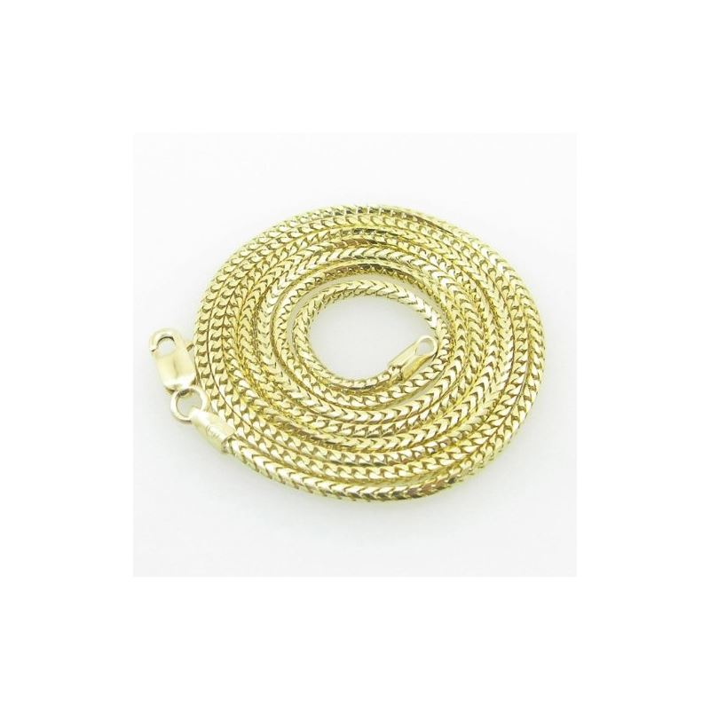 Mens Yellow-Gold Franco Link Chain Length - 22 inc