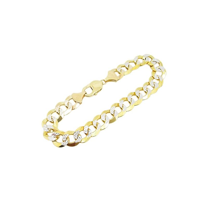 Mens 10k Yellow Gold diamond cut figaro  77433 1