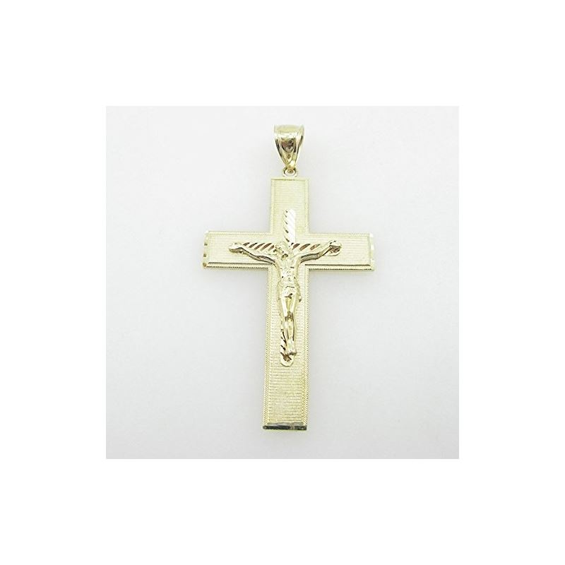 Mens 10K Solid Yellow Gold jesus cross L 77099 1