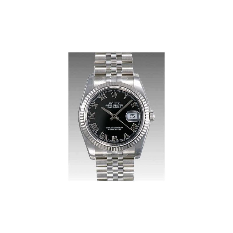Rolex Datejust Black Roman Dial Jubilee Bracelet F