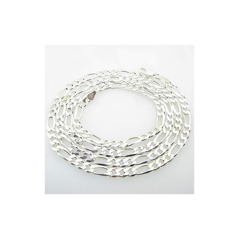 Silver Figaro link chain Necklace BDC81