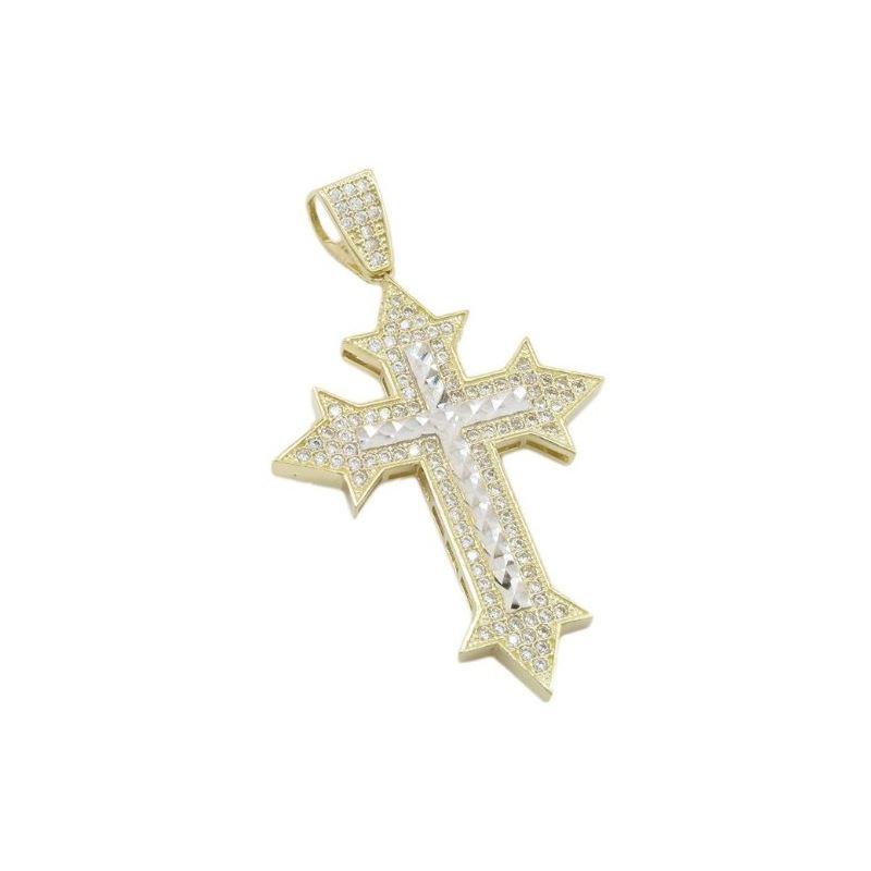 Mens 10k Yellow gold Sharp edge gold cross diamond
