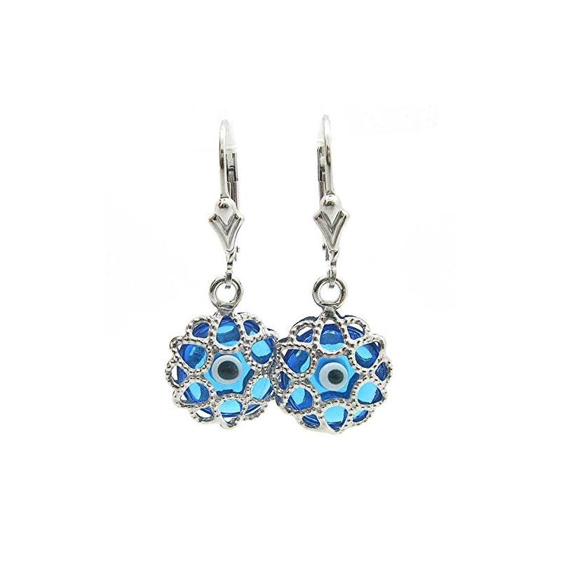 Ladies Silver evil eye dangle earrings fancy stud