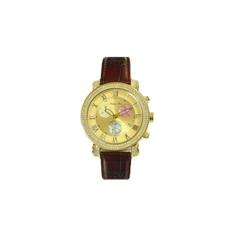 Burgundy Leather Band Gold 53587 1