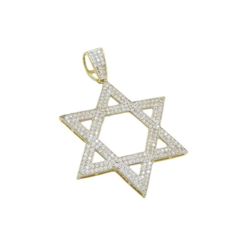 Mens 10k Yellow gold Star of david gold cz pendant