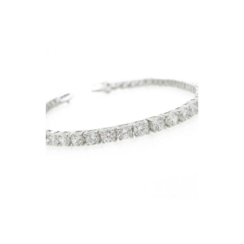 Ladies .925 Italian Sterling Silver round cut cz t
