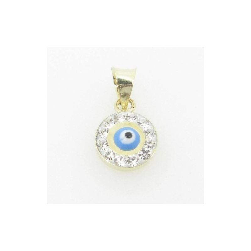Womens BP117 Kabbalah Evil Eye 14K Solid Yellow Go