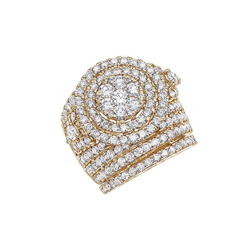 Ladies 14K Gold Unique Wide Diamond Engagement Rin