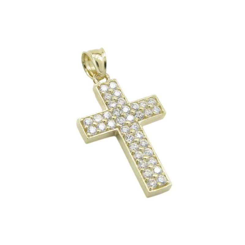 Mens 10k Yellow gold 2 row gold cross cz pendant G