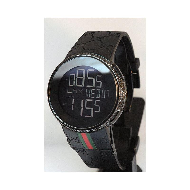 Gucci Unisex Digital Black Diamond Watch 28111 1