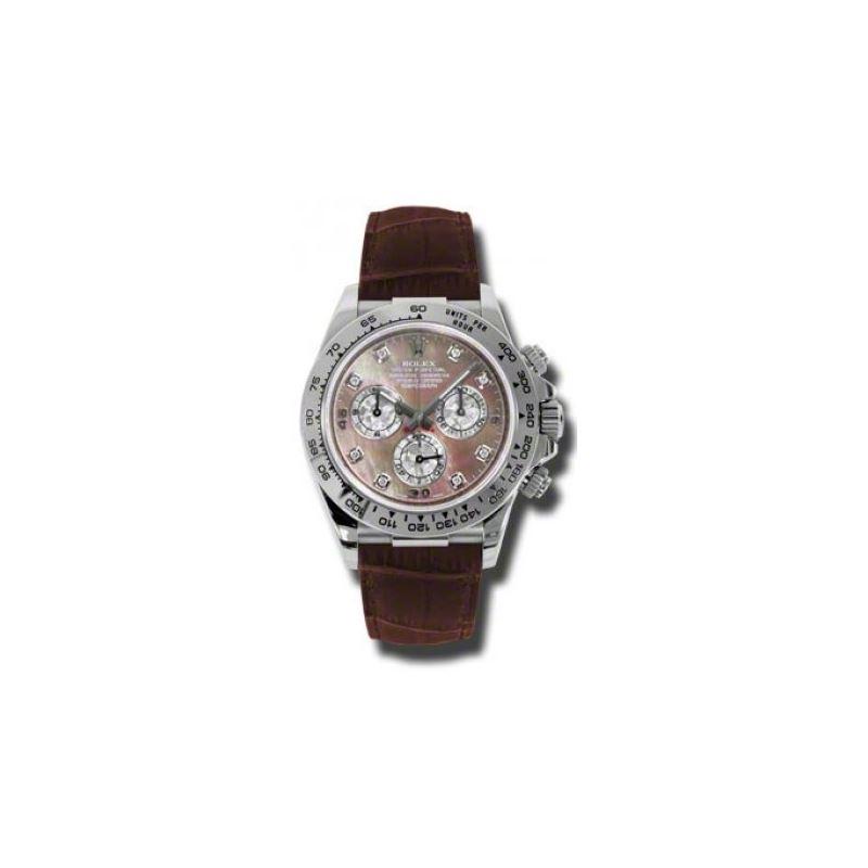 Rolex Watches Daytona White Gold Leather Strap 116519 Dkltmd