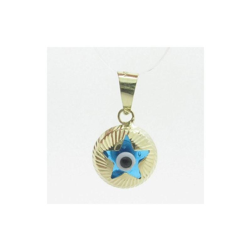 Womens bp5 kabbalah evil eye 14k solid yellow gold