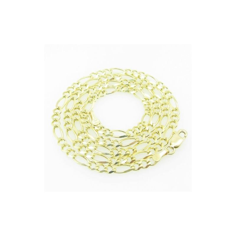 Mens Yellow-Gold Figaro Link Chain Length - 22 inc
