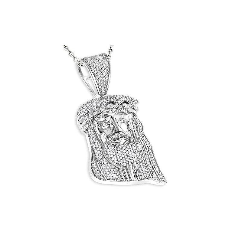 Mini diamond jesus head pendant in sterling silver by luxurman 075 luxurman mini diamond jesus head pendant in sterl 79241 1 aloadofball Gallery
