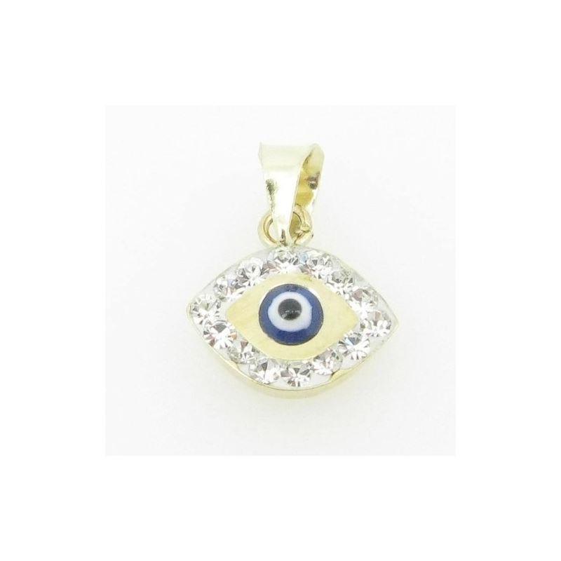 Womens BP120 Kabbalah Evil Eye 14K Solid Yellow Go
