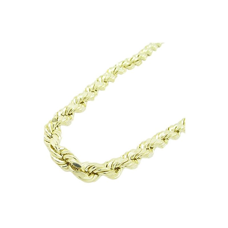 Mens 10k Yellow Gold Hollow Rope Chain ELNC20 24""
