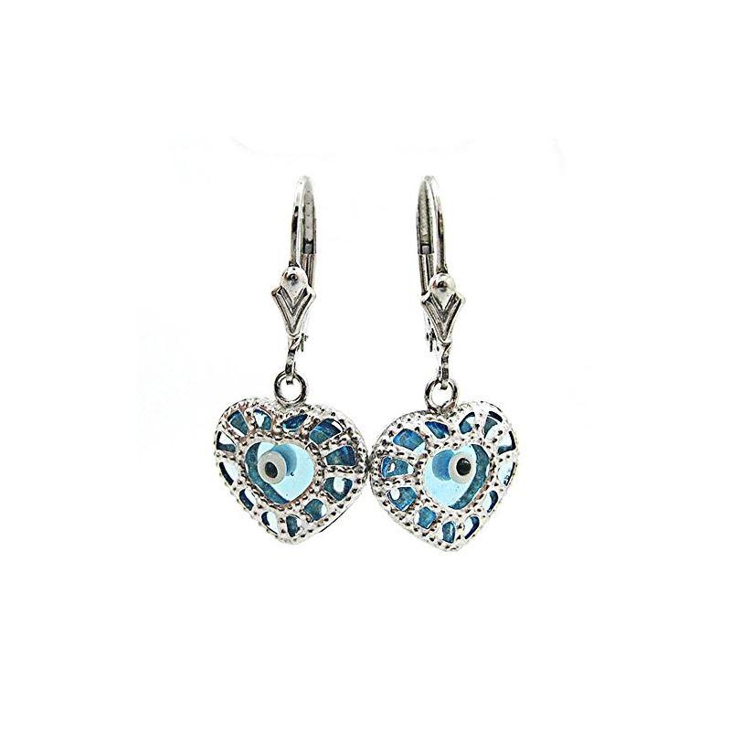 Ladies Silver evil eye dangle earrings
