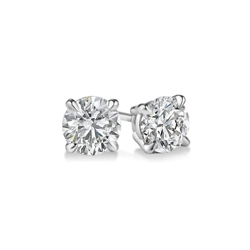 Gold Round Cut Diamond Stud Earrings 0.9 73399 1