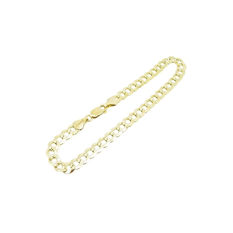Mens 10k Yellow Gold diamond cut figaro  77321 1