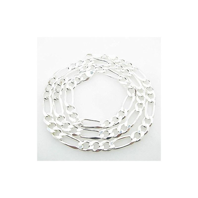 Silver Figaro Link Chain Necklace Bdc80