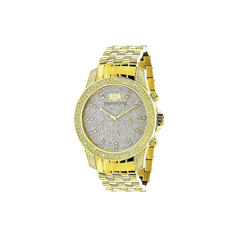 Mens Yellow Gold Tone Watch With Diamonds 0.50Ct L