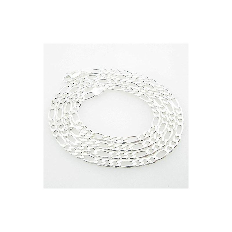 Silver Figaro link chain Necklace BDC86