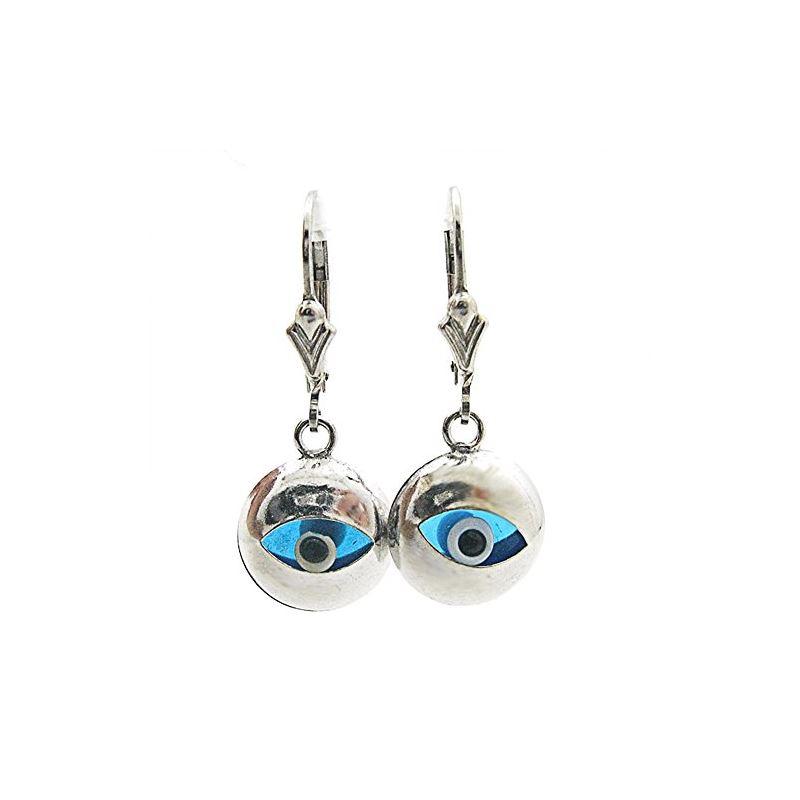 Sterling Silver evil eye dangle earrings 80545 1
