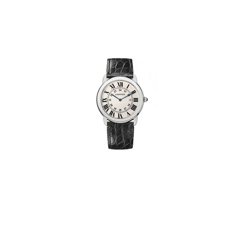 Cartier Ronde Solo Steel Black Leather M 55057 1
