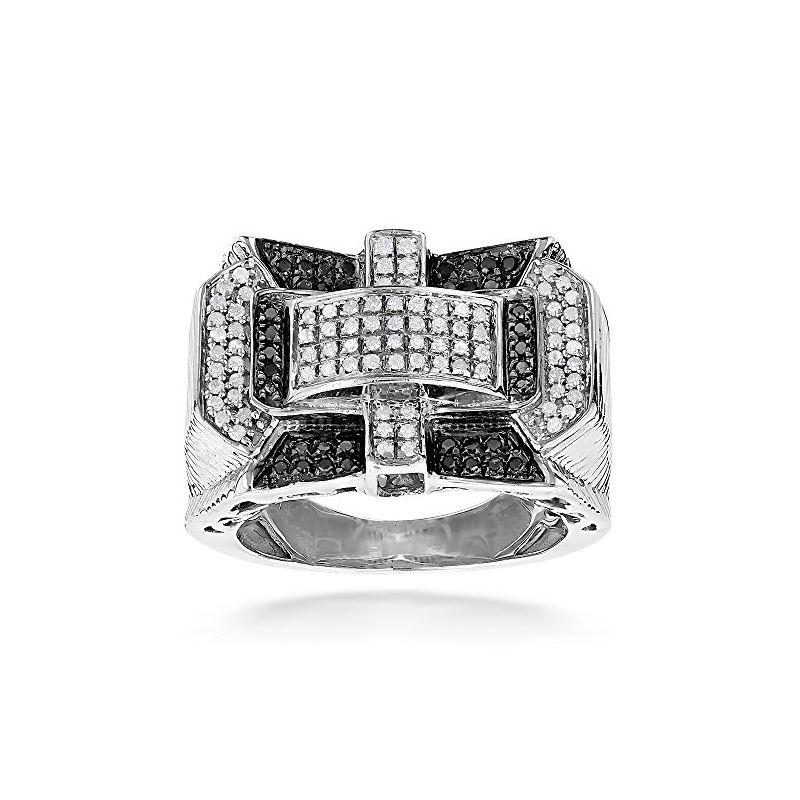 1 Carat White Black Diamond Ring For Men Sterling Silver