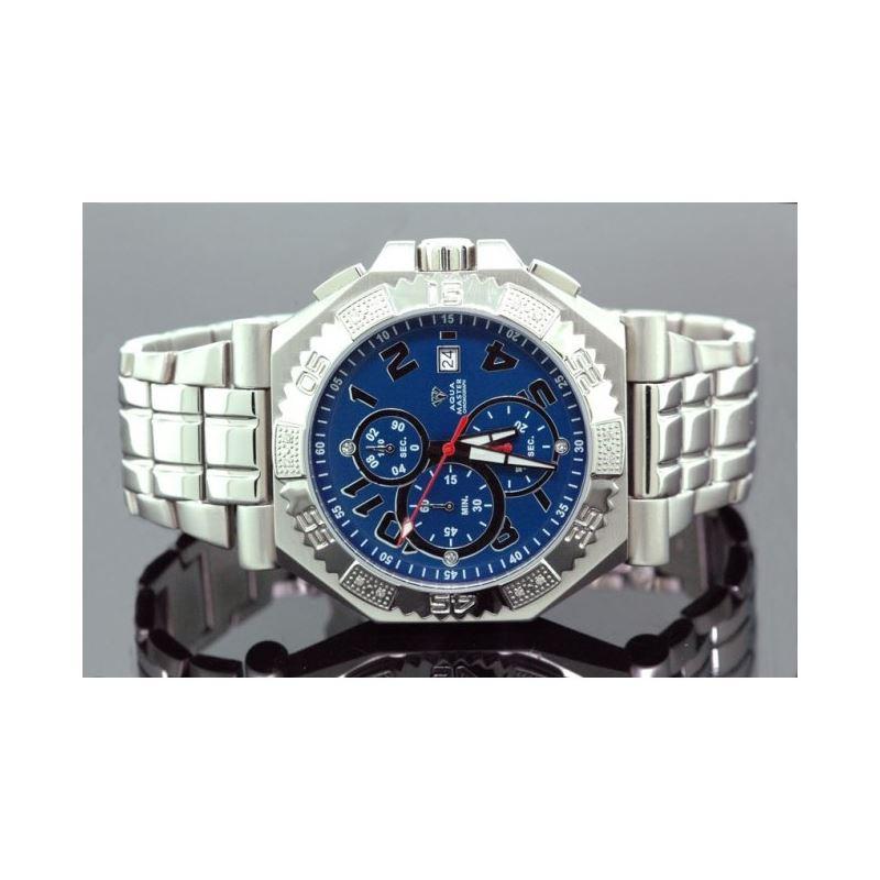 Aqua Master Mens Swiss Made Diamond Watch 0.12ctw