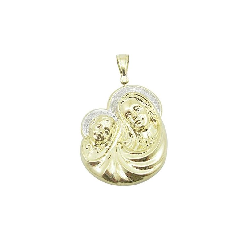 Unisex 10K Solid Yellow Gold virgin mary and baby