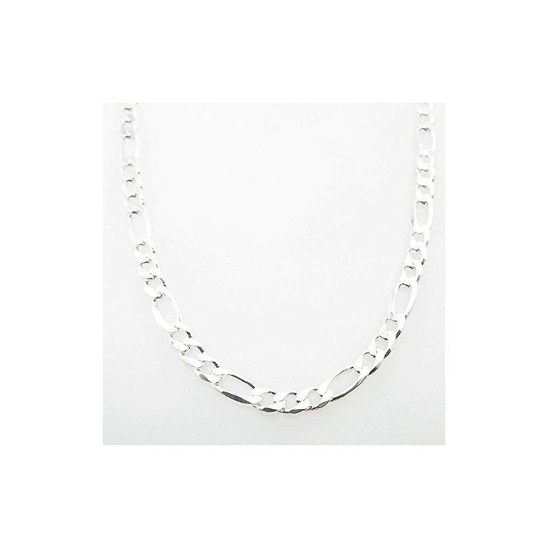 Silver Figaro link chain Necklace BDC93