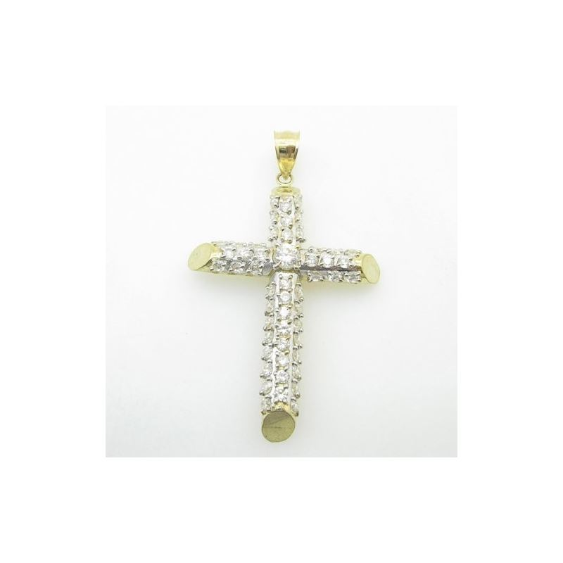 Mens 10K Solid Yellow Gold fully stoned cross Leng