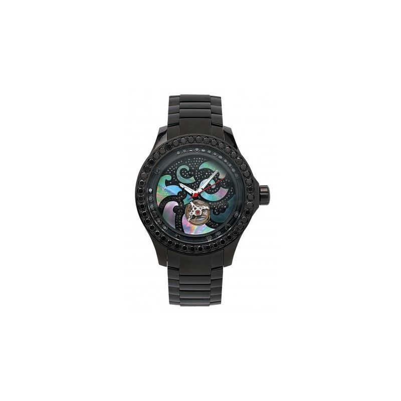 Aqua Master Luxury 7.50 ct Diamond Mens Black Watc